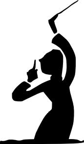 black and white graphic of an orchestra conductor.