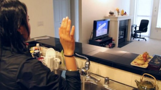 User controlling equipment with gestures from another room